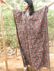 """""""Organic Au Naturelle"""" Cinched Drawstring kaftan in Gray Red Floral Pattern"""
