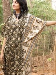"""Organic Au Naturelle"" Cinched Drawstring kaftan in Green Cream Leafy Border Pattern"