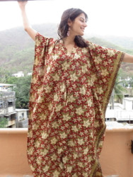 """Organic Au Naturelle"" Cinched Drawstring kaftan in Red Green Floral pattern"