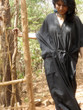 """Organic Au Naturelle"" Cinched Drawstring kaftan in Solid Black pattern"