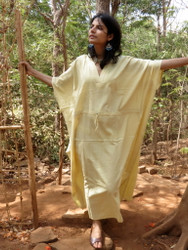 """Organic Au Naturelle"" Cinched Drawstring kaftan in Solid Light Yellow pattern"