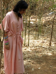 """Organic Au Naturelle"" Cinched Drawstring kaftan in Solid Pink pattern"