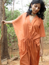 """Organic Au Naturelle"" Cinched Drawstring kaftan in Solid Rust pattern"