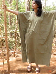 """Organic Au Naturelle"" Cinched Drawstring kaftan in Solid Sage Green pattern"