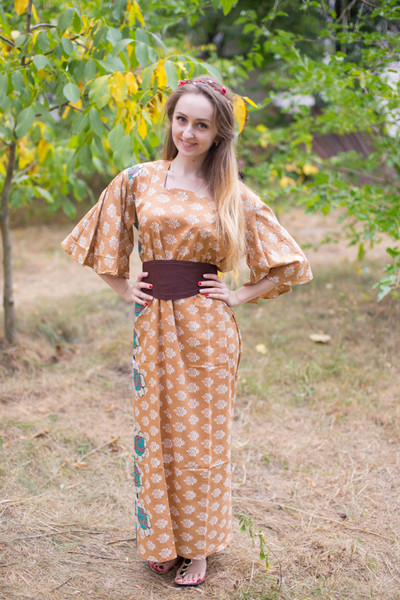 """Beauty, Belt and Beyond"" kaftan in Floral Bordered pattern"