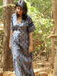 """Organic Au Naturelle"" Button-Front kaftan in Dark Blue Paisley pattern"