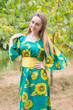 """Beauty, Belt and Beyond"" kaftan in Sunflower Sweet pattern"