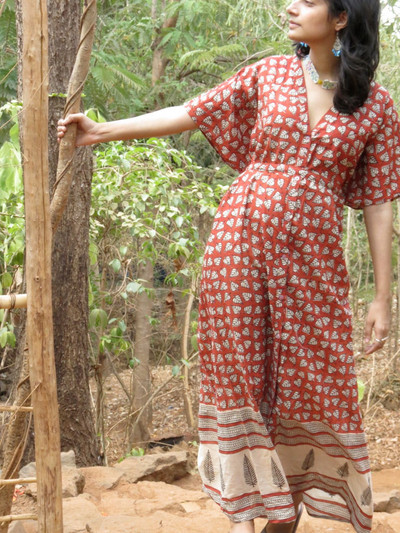 """Organic Au Naturelle"" Button-Front kaftan in Red Leafy pattern"