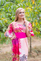 """Beauty, Belt and Beyond"" kaftan in Vibrant Foliage pattern"