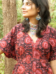 """Organic Au Naturelle"" Button-Front kaftan in Black Red Floral pattern"