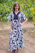 """Flowing River"" kaftan in Classic White Black pattern"