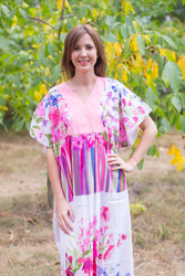 """Flowing River"" kaftan in Floral Watercolor Painting pattern"