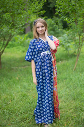 """Unfurl"" kaftan in Floral Bordered pattern"