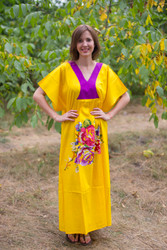 """Flowing River"" kaftan in One Long Flower pattern"