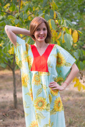 """Flowing River"" kaftan in Sunflower Sweet pattern"