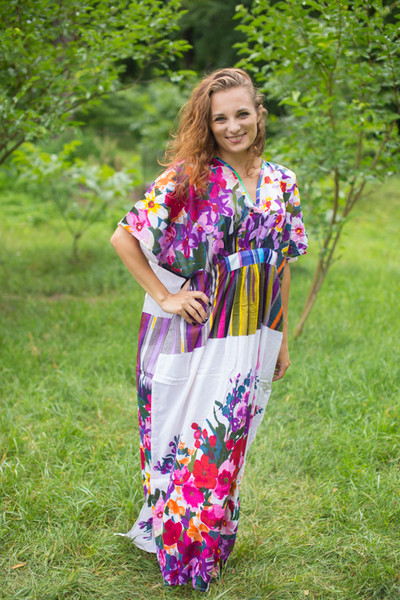 """Unfurl"" kaftan in Floral Watercolor Painting pattern"