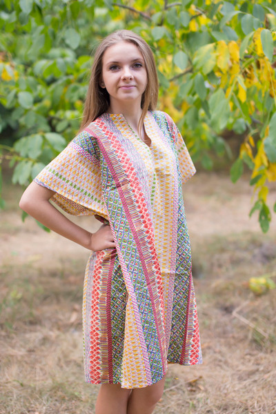 """Sunshine"" Tunic Dress kaftan in Abstract Geometric pattern"