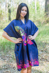 """Sunshine"" Tunic Dress kaftan in Big Butterfly pattern"