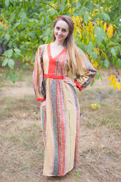 """My Peasant Dress"" kaftan in Abstract Geometric  pattern"
