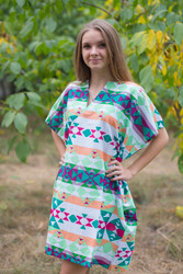 """Sunshine"" Tunic Dress kaftan in Diamond Aztec pattern"