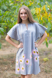 """Sunshine"" Tunic Dress kaftan in Falling Daisies pattern"