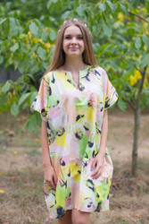 """Sunshine"" Tunic Dress kaftan in Flamingo Watercolor pattern"