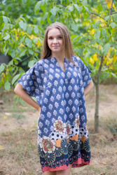 """Sunshine"" Tunic Dress kaftan in Floral Bordered pattern"