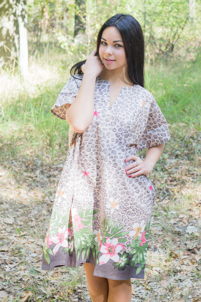 """Sunshine"" Tunic Dress kaftan in Fun Leapord pattern"