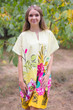 """Sunshine"" Tunic Dress kaftan in Jungle of Flowers pattern"