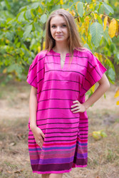 """Sunshine"" Tunic Dress kaftan in Multicolored Stripes pattern"