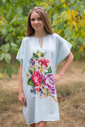 """Sunshine"" Tunic Dress kaftan in One Long Flower pattern"
