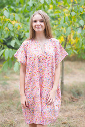 """Sunshine"" Tunic Dress kaftan in Petit Florals pattern"