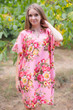 """Sunshine"" Tunic Dress kaftan in Rosy Red Posy pattern"