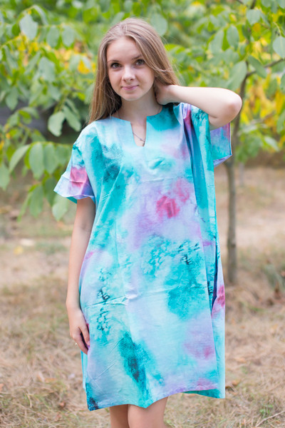 """Sunshine"" Tunic Dress kaftan in Watercolor Splash pattern"