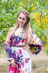 """My Peasant Dress"" kaftan in Floral Watercolor Painting pattern"