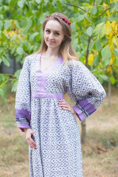 """My Peasant Dress"" kaftan in Geometric Chevron pattern"