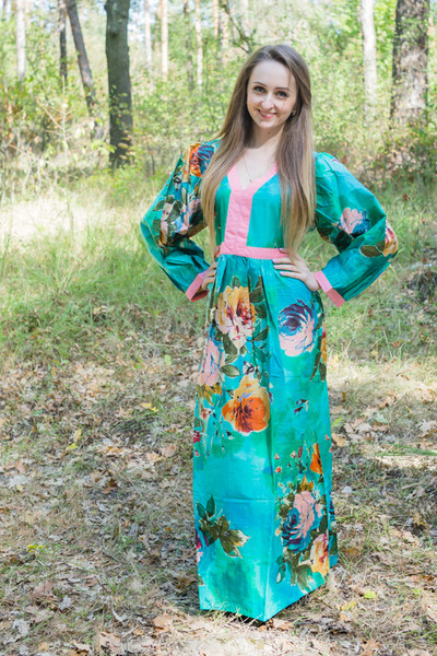 """My Peasant Dress"" kaftan in Large Floral Blossom pattern"
