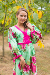 """My Peasant Dress"" kaftan in Large Fuchsia Floral Blossom pattern"