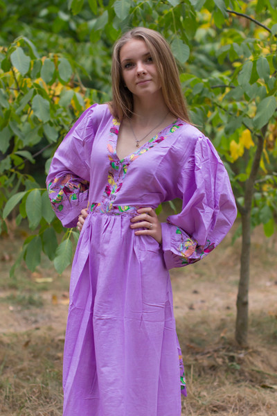 """My Peasant Dress"" kaftan in Little Chirpies pattern"