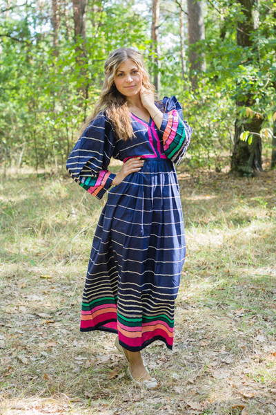 """My Peasant Dress"" kaftan in Multicolored Stripes pattern"