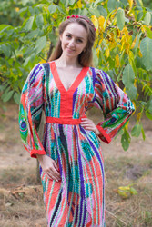 """My Peasant Dress"" kaftan in Peacock Plumage pattern"