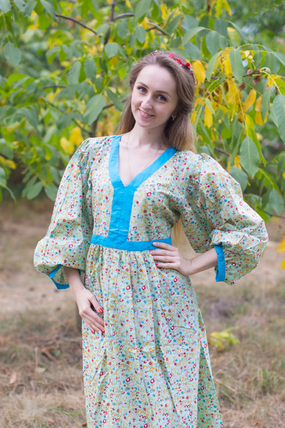 """My Peasant Dress"" kaftan in Petit Florals pattern"