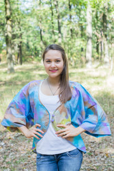 """Fly towards Glory"" Kimono jacket in Batik Watercolor pattern"