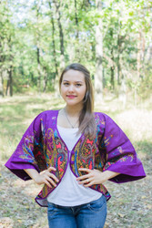 """Fly towards Glory"" Kimono jacket in Cheerful Paisleys pattern"