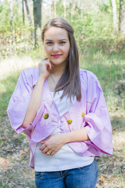 """Fly towards Glory"" Kimono jacket in Falling Daisies pattern"