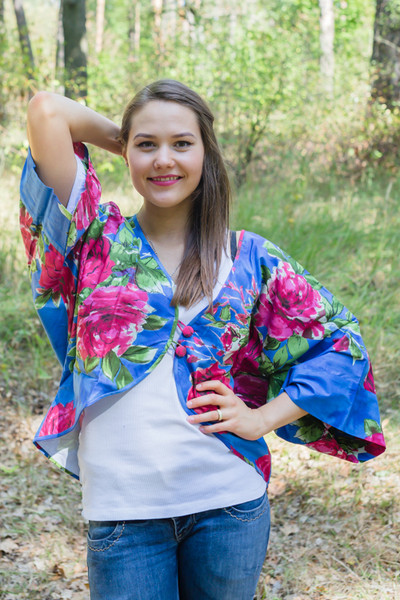 """Fly towards Glory"" Kimono jacket in Large Fuchsia Floral Blossom  pattern"