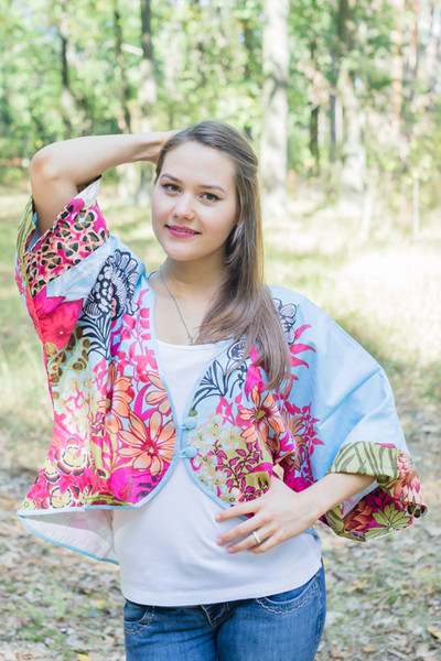 """Fly towards Glory"" Kimono jacket in Vibrant Foliage pattern"