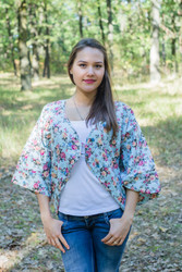 """Fly towards Glory"" Kimono jacket in Vintage Chic Floral pattern"
