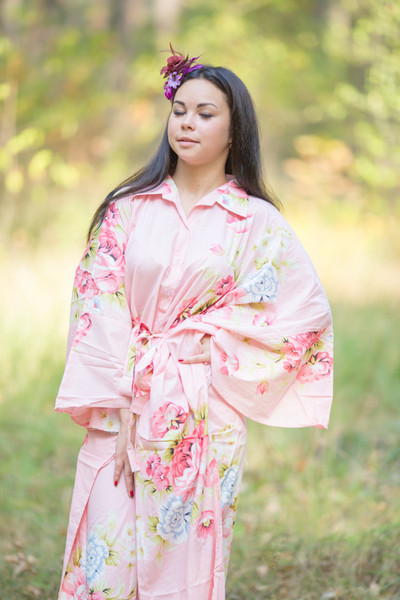 """Oriental Delight"" kaftan in Cabbage Roses pattern"