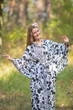 """Oriental Delight"" kaftan in Classic White Black pattern"